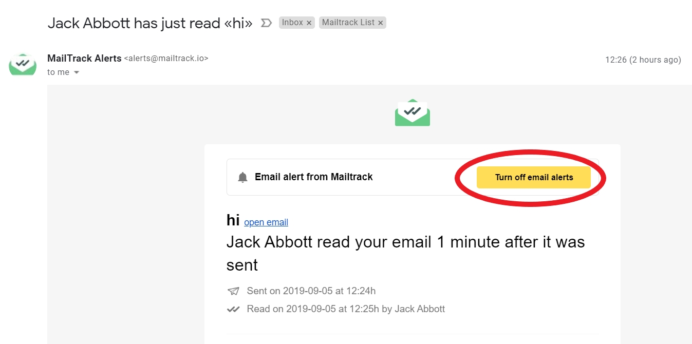 Turn off email alerts button