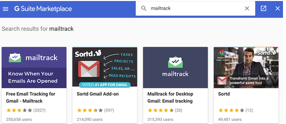 Mailtrack in the G Suite Marketplace
