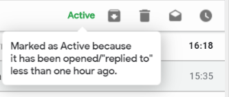 Active email indicator tooltip