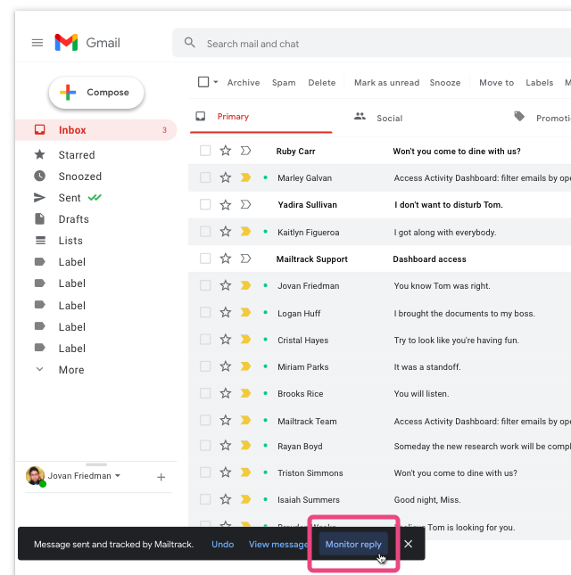 The monitor reply option in Gmail